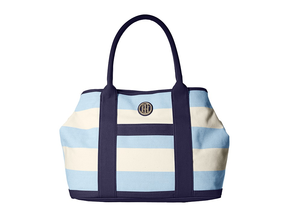 Tommy Hilfiger - TH Totes - Woven Rugby Canvas Shopper (Placid Blue/Natural) Tote Handbags