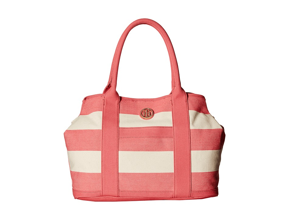 Tommy Hilfiger - TH Totes - Woven Rugby Canvas Shopper (Calypso Coral/Natural) Tote Handbags