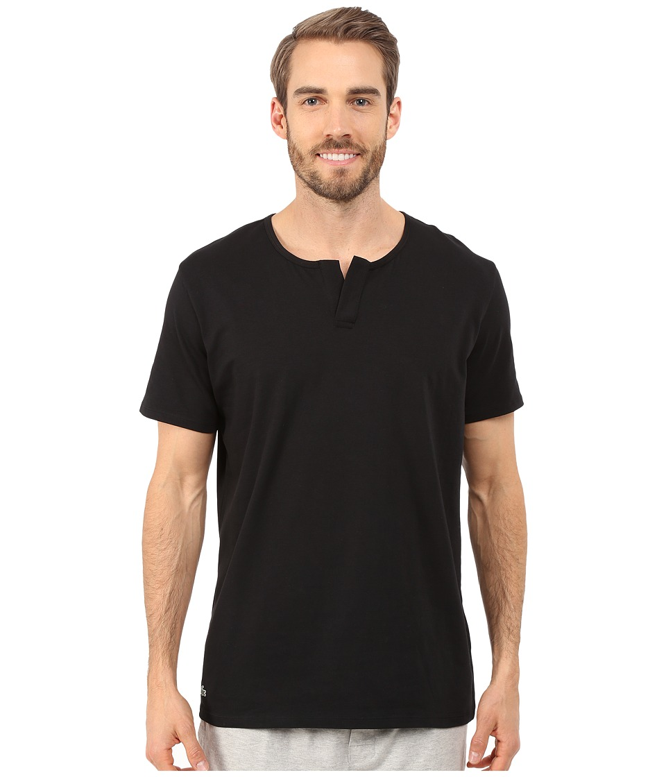 Lacoste - Short Sleeve Henley Sleep Tee (Black) Men's Pajama