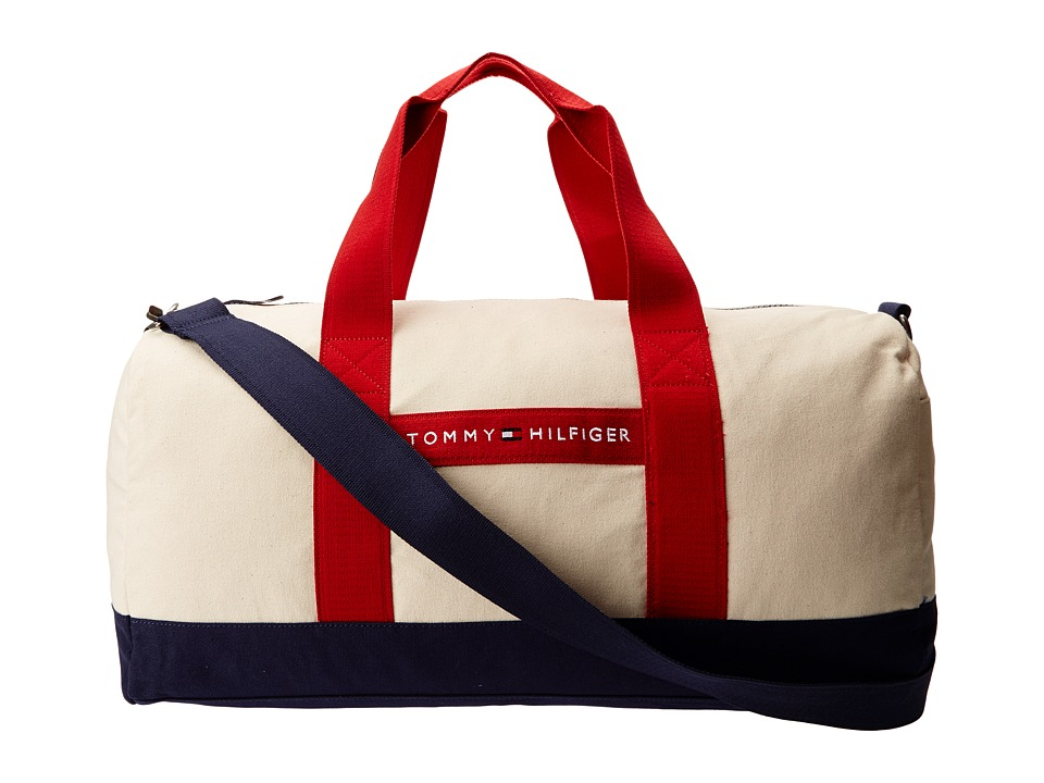 Tommy Hilfiger - TH Sport - Core Plus Medium Duffel (Natural/Navy/Red) Duffel Bags