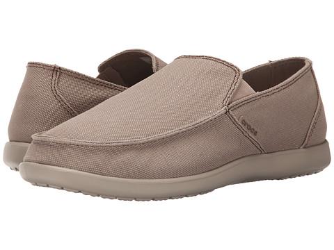 Crocs - Santa Cruz Clean Cut Loafer (Khaki/Cobblestone) Men's Slip on Shoes