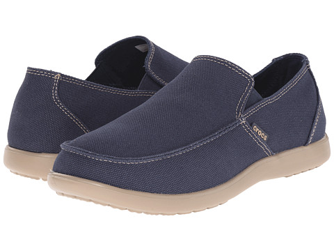 Crocs - Santa Cruz Clean Cut Loafer (Navy/Tumbleweed) Men's Slip on Shoes