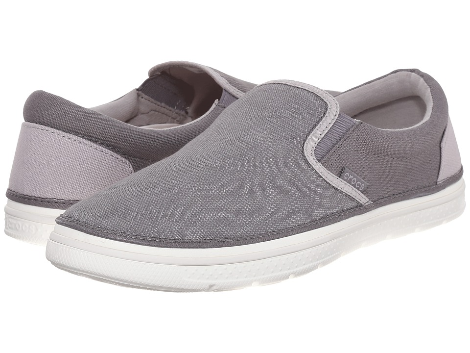 Crocs - Norlin Canvas Slip-On (Smoke/White) Men's Slip on Shoes