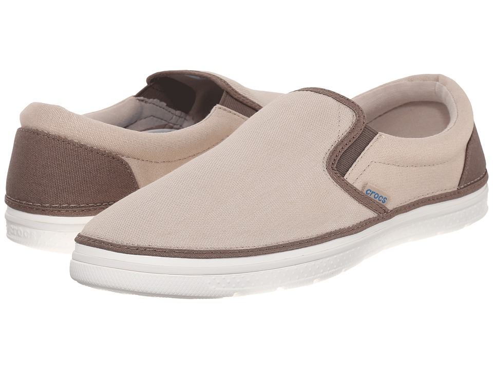 Crocs - Norlin Canvas Slip-On (Khaki/White) Men's Slip on Shoes