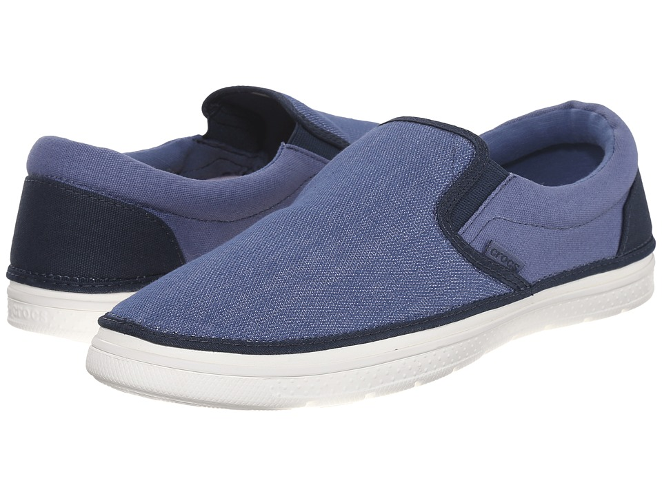 Crocs - Norlin Canvas Slip-On (Bijou Blue/White) Men's Slip on Shoes