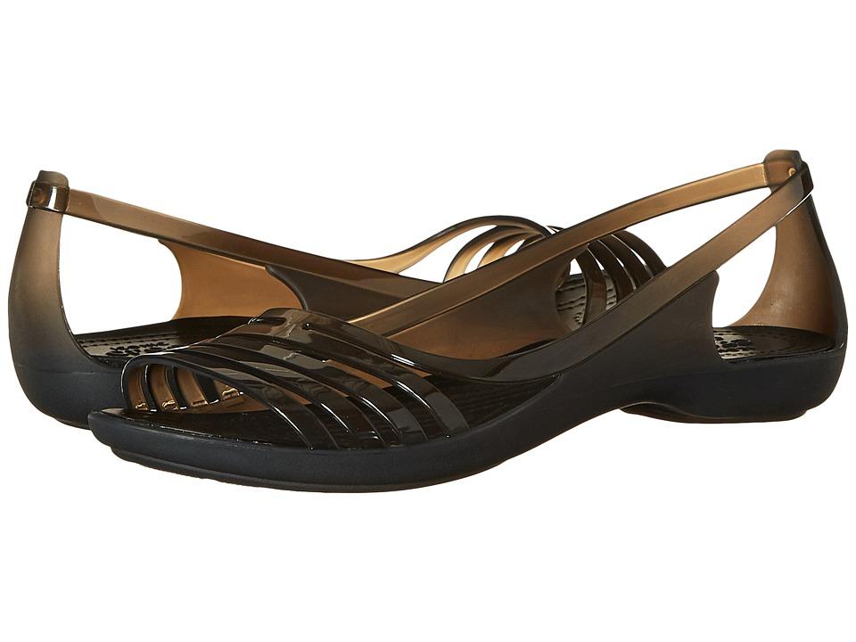Crocs - Isabella Huarache Flat (Black) Women's Flat Shoes