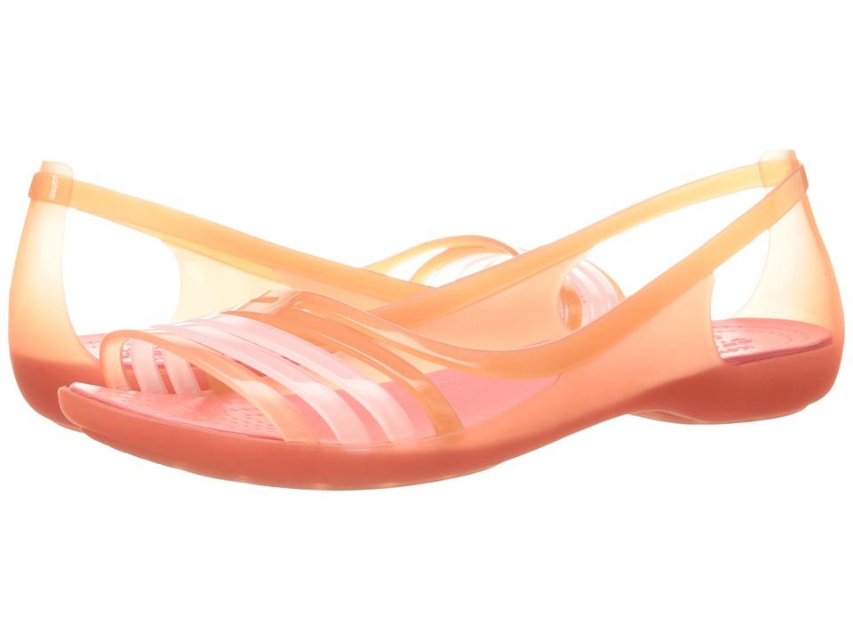 Crocs - Isabella Huarache Flat (Coral) Women's Flat Shoes