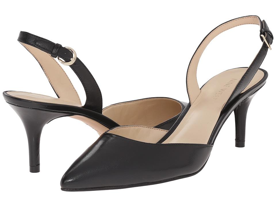 Nine West - Margareth (Black Leather) Women's 1-2 inch heel Shoes
