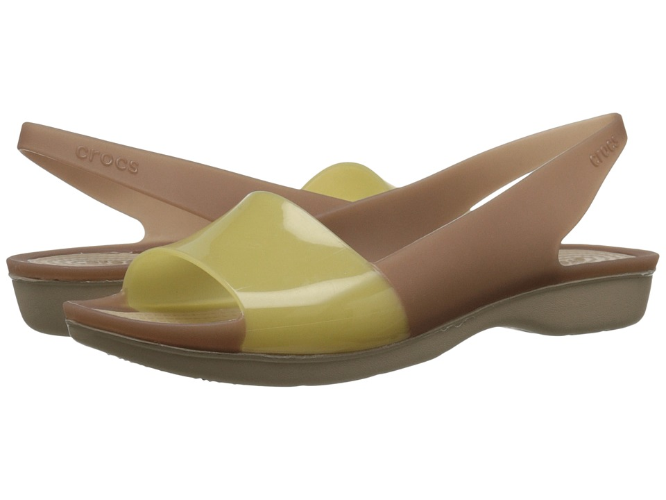 Crocs - Color Block Flat (Bronze/Tumbleweed) Women's Flat Shoes