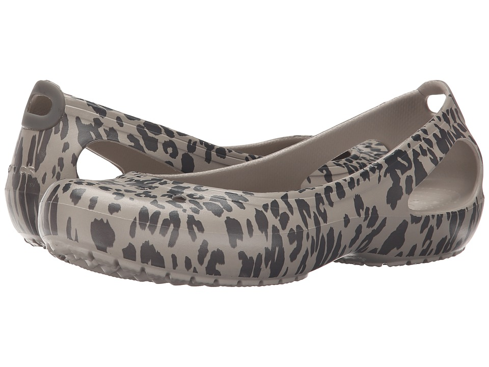 Crocs - Kadee Animal Print Flat (Smoke) Women's Flat Shoes