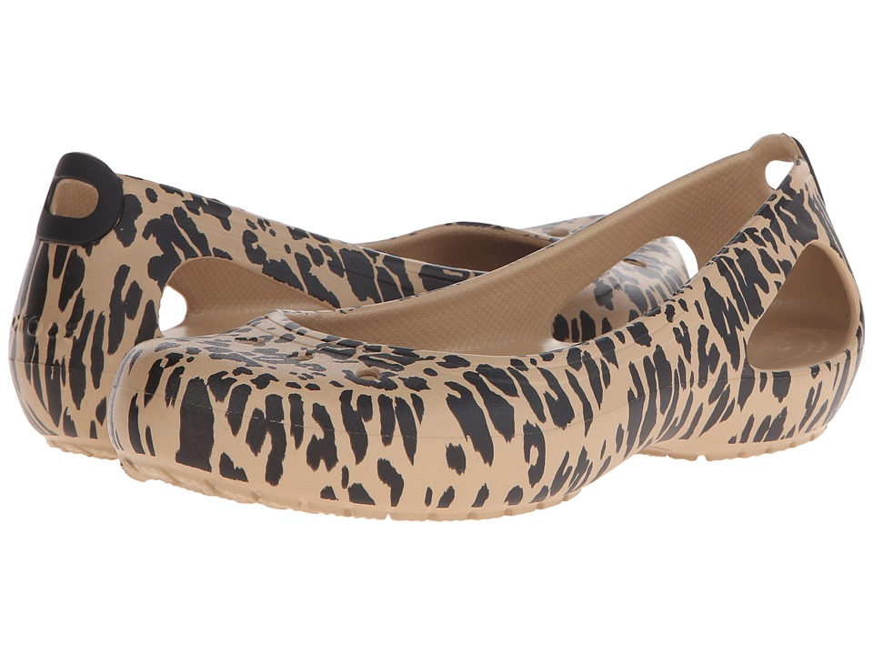 Crocs - Kadee Animal Print Flat (Gold) Women's Flat Shoes