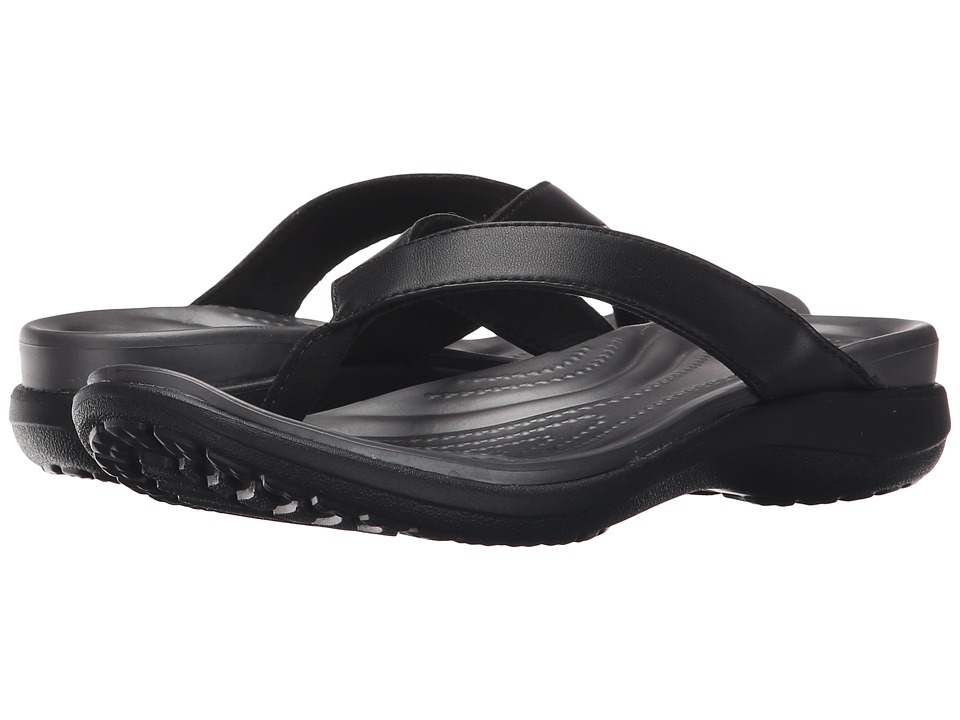 Crocs - Capri V Flip (Black/Graphite) Women's Sandals