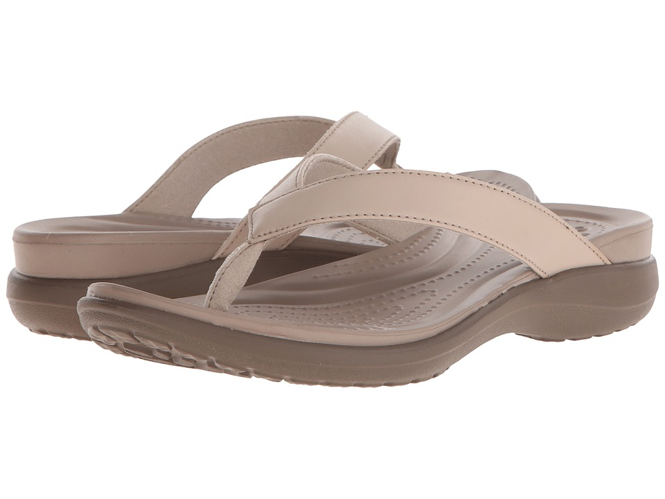 Crocs - Capri V Flip (Chai/Walnut) Women's Sandals