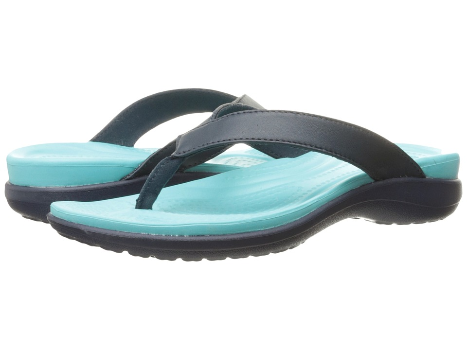 Crocs - Capri V Flip (Navy/Pool) Women's Sandals