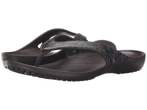 Crocs - Kadee II Leopard Print Flip (Espresso) Women's Sandals