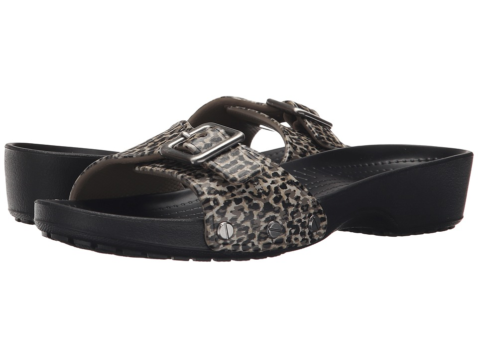Crocs - Sarah Leopard Sandal (Black) Women's Sandals