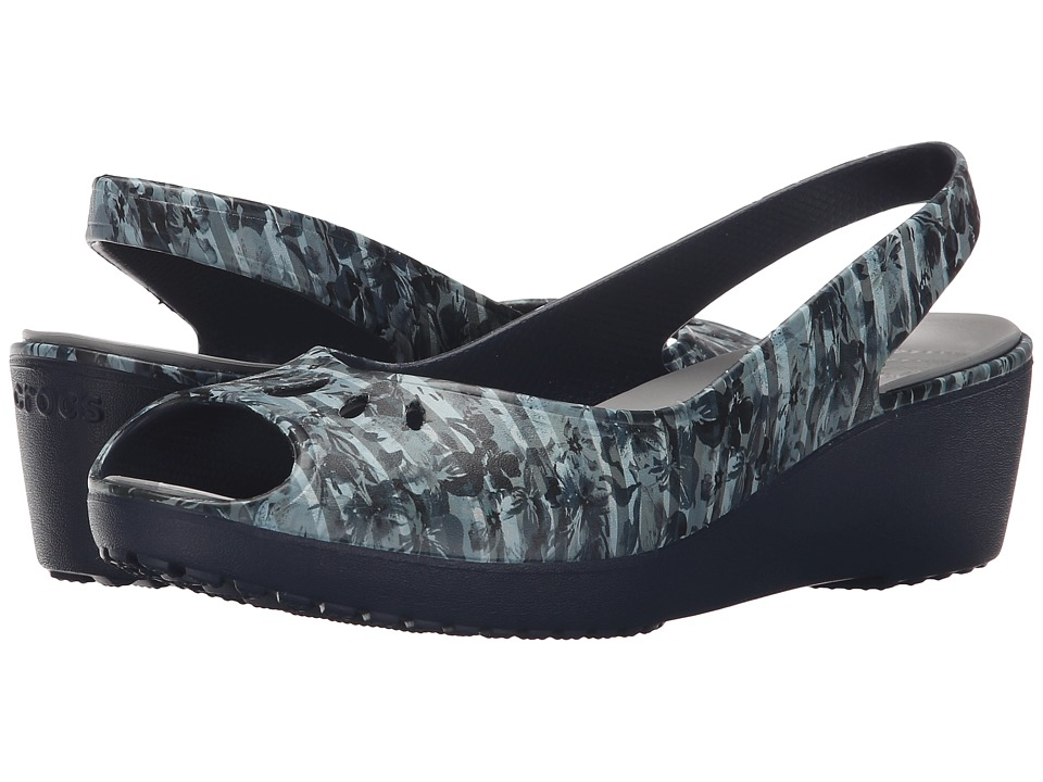 Crocs - Mabyn Striped Floral Mini Wedge (Navy) Women