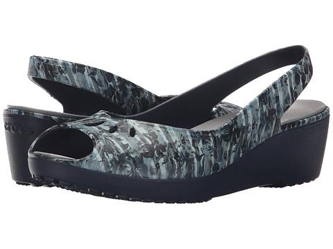 Crocs - Mabyn Striped Floral Mini Wedge (Navy) Women