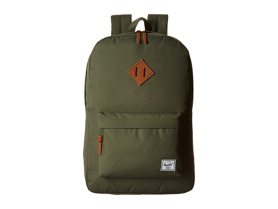 Herschel Supply Co. - Heritage (Deep Litchen Green/Tan Leather) Backpack Bags