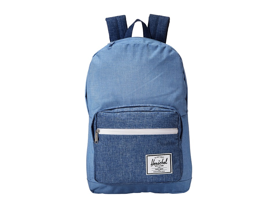 Herschel Supply Co. - Pop Quiz (Limoges Crosshatch/Chambray Crosshatch/Tan Pebbled Leather) Backpack Bags