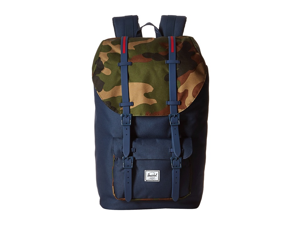 Herschel Supply Co. - Little America (Navy/Woodland Camo/Navy Rubber Straps/Red Insert) Backpack Bags