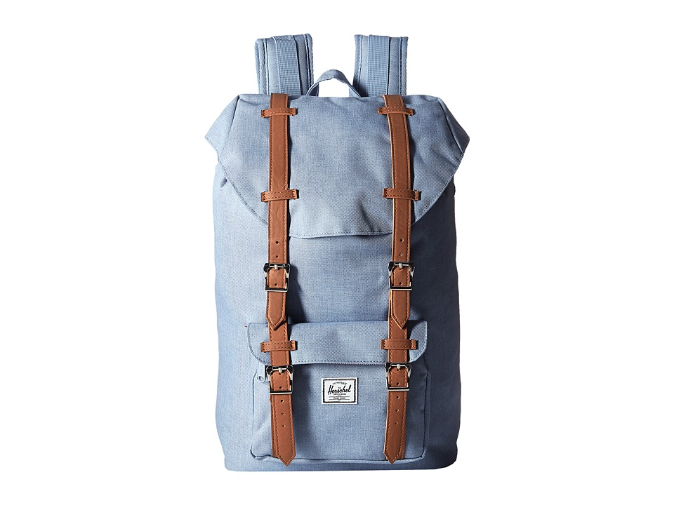 Herschel Supply Co. - Little America Mid-Volume (Chambray Crosshatch/Tan Synthetic Leather) Backpack Bags