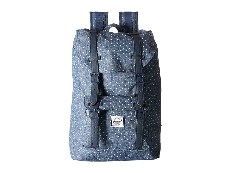 Herschel Supply Co. - Little America Mid-Volume (Limoges Crosshatch/White Polka Dot/Navy Synthetic Leather) Backpack Bags