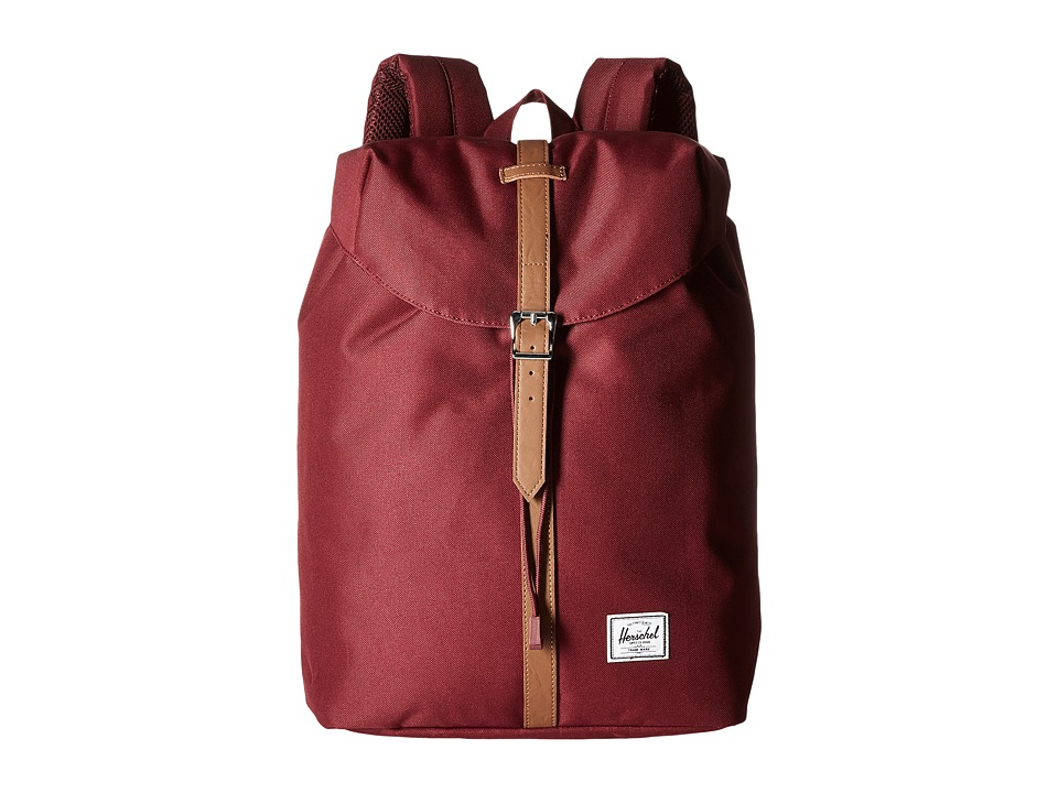 Herschel Supply Co. - Post (Windsor Wine/Tan Synthetic Leather) Backpack Bags