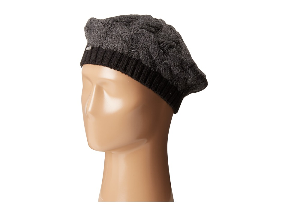 Calvin Klein - Contrast Rib Cable Beret (Heathered Coal/Black) Knit Hats