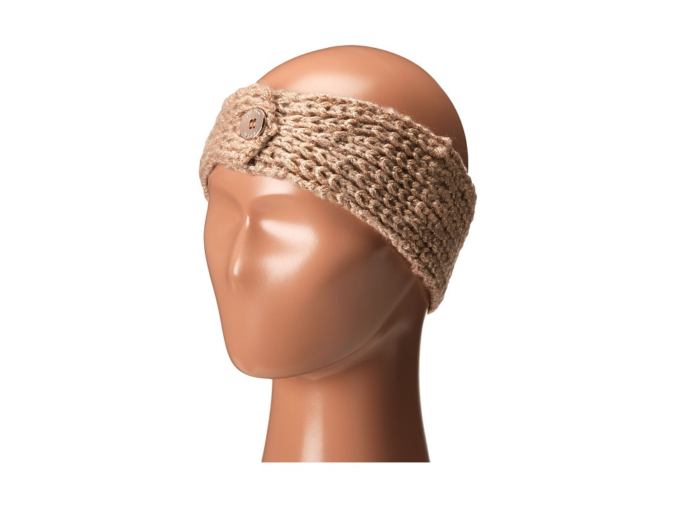 Calvin Klein - Metallic Shaker Stitch Headband (Heathered Almond) Knit Hats