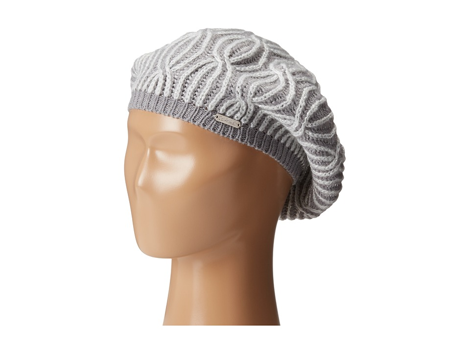 Calvin Klein - Shaker Stitch Cable Beret (Heathered Mid Gray) Knit Hats