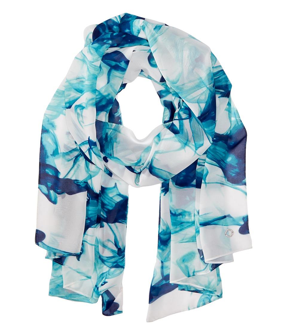Calvin Klein - Smoke Print Poly Chiffon Scarf (Aqua) Scarves