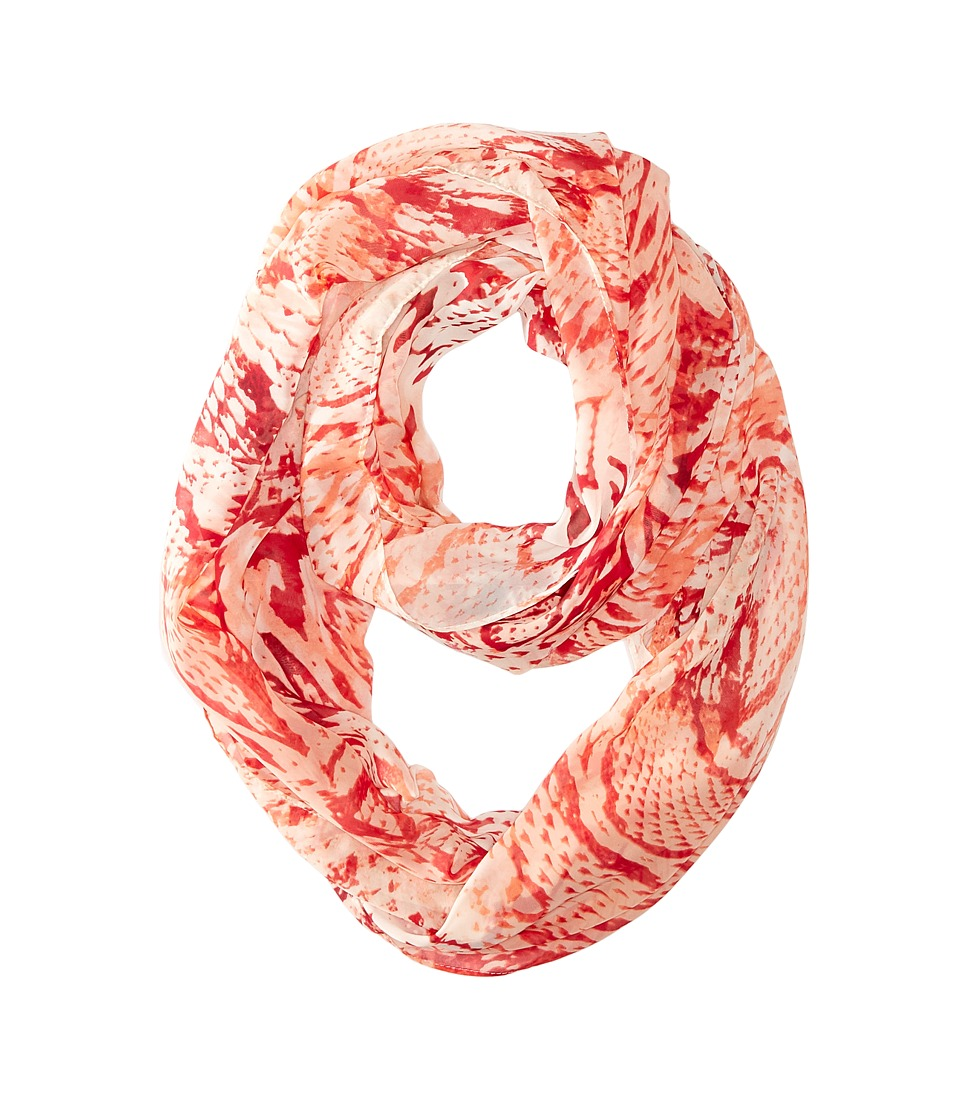 Calvin Klein - Mixed Animal Poly Chiffon Loop (Coral Reef) Scarves