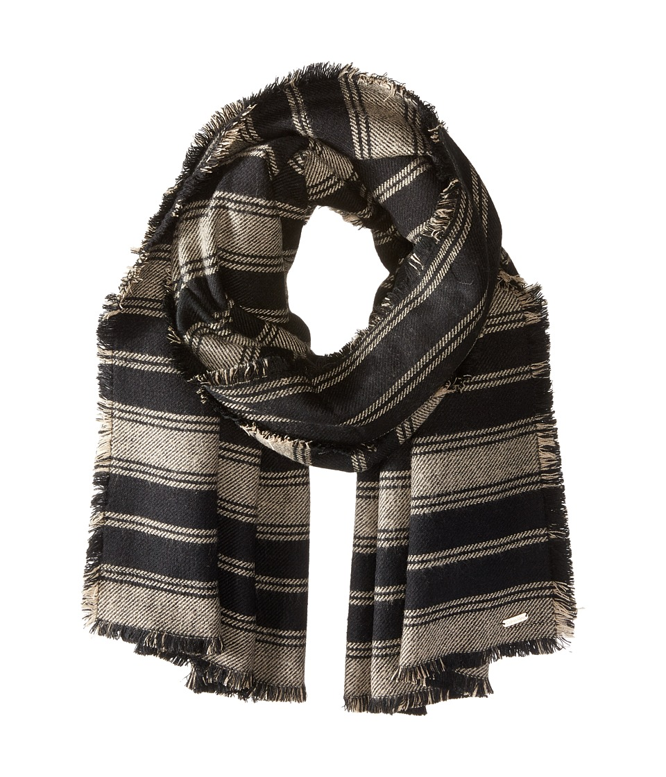 Calvin Klein - Striped Blanket Scarf (Black/Latte) Scarves