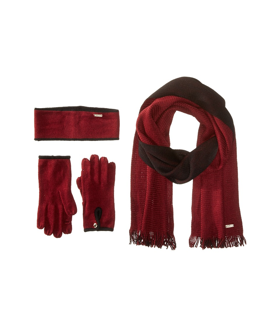 Calvin Klein - Two-Tone 3 Piece Set- Headband/Glove/Loop (Port/Black) Scarves