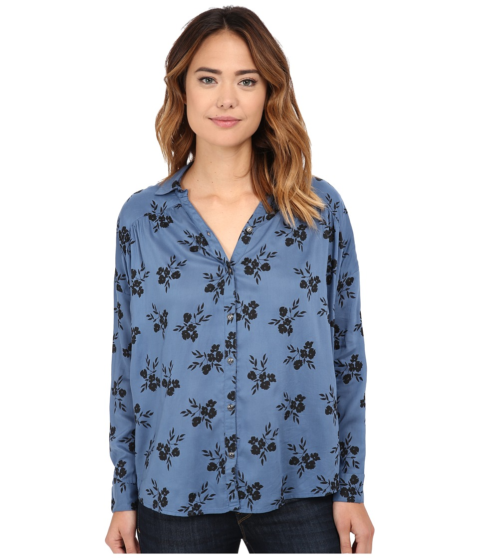 Amuse Society - Gia Long Sleeve Woven Top (French Blue) Women's Long Sleeve Pullover