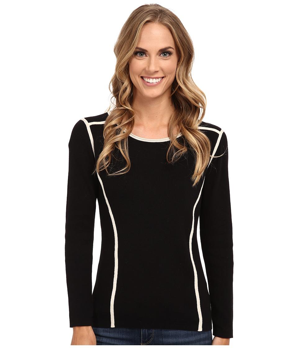 NIC+ZOE - Clean Lines Top (Black Mix) Women's Sweater