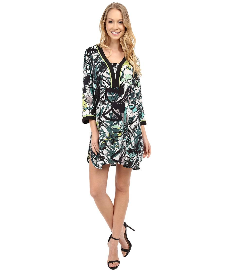 NIC+ZOE Green Graffiti Tunic Dress (Multi) Women