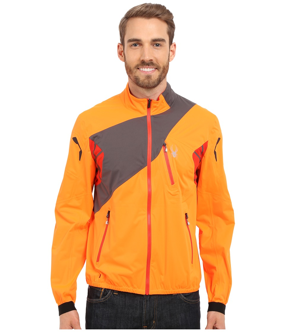 Spyder - Aramis Windbreaker Shell Jacket (Bright Orange/Polar/Volcano) Men's Coat