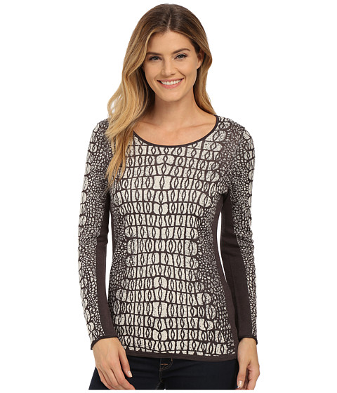 NIC+ZOE - Tiles Jacquard Top (Sandshell Mix) Women
