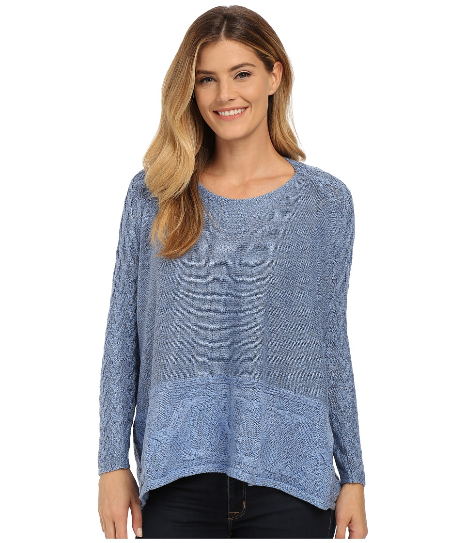 NIC+ZOE - Cozy Stitched Top (Blue Haze Mix) Women's Sweater