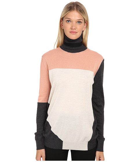 McQ - Color Block Roll Neck (Charcoal/Oatmeal) Women's Long Sleeve Pullover