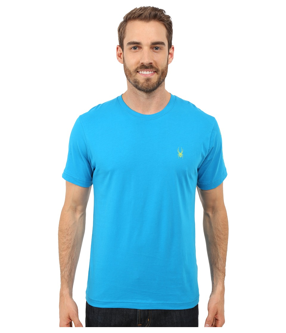 Spyder - Route Graphic Short Sleeve Shirt (Electric Blue/Theory Green) Men's Long Sleeve Pullover