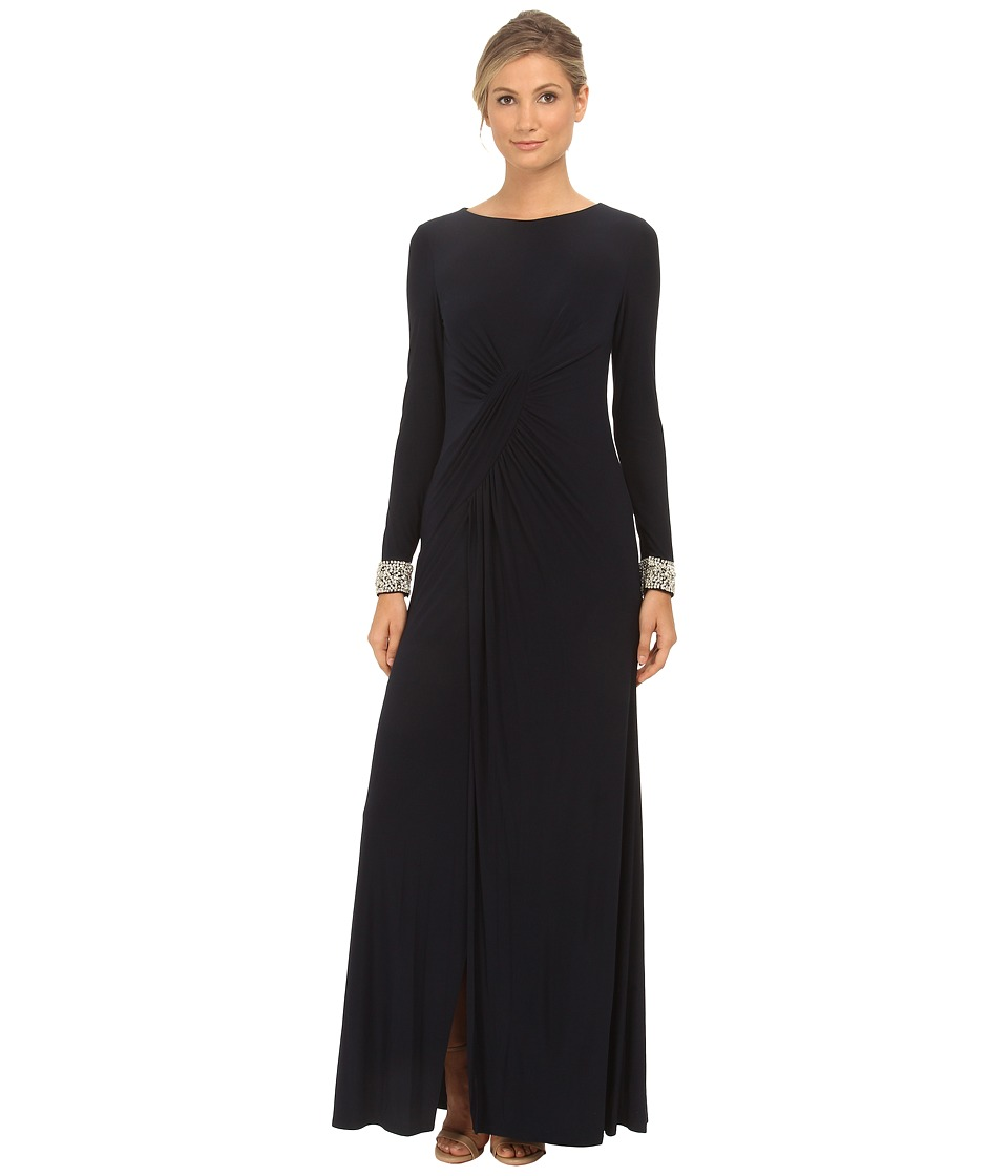 Vince Camuto - Long Sleeve Beaded Gown w/ Front Drape (Navy) Women's Dress