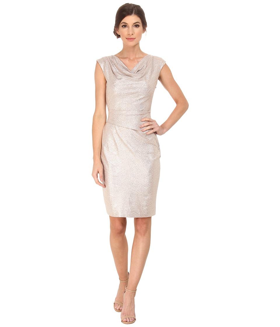 Vince Camuto Metallic Cowl Neck Dress (Blush) Women