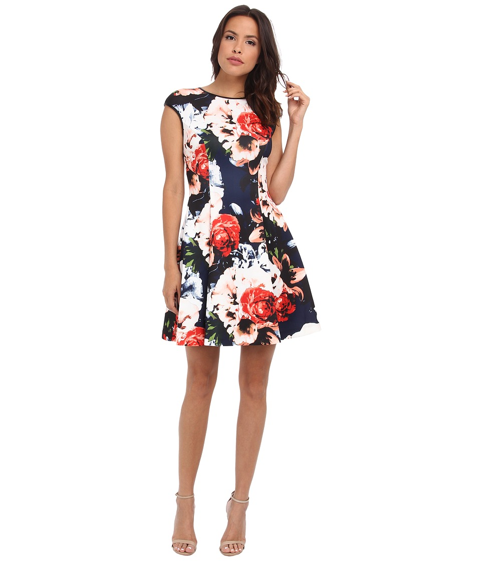 Vince Camuto - Cap Sleeve Fit Flare Dress w/ Faux Leather Trim (Print) Women's Dress