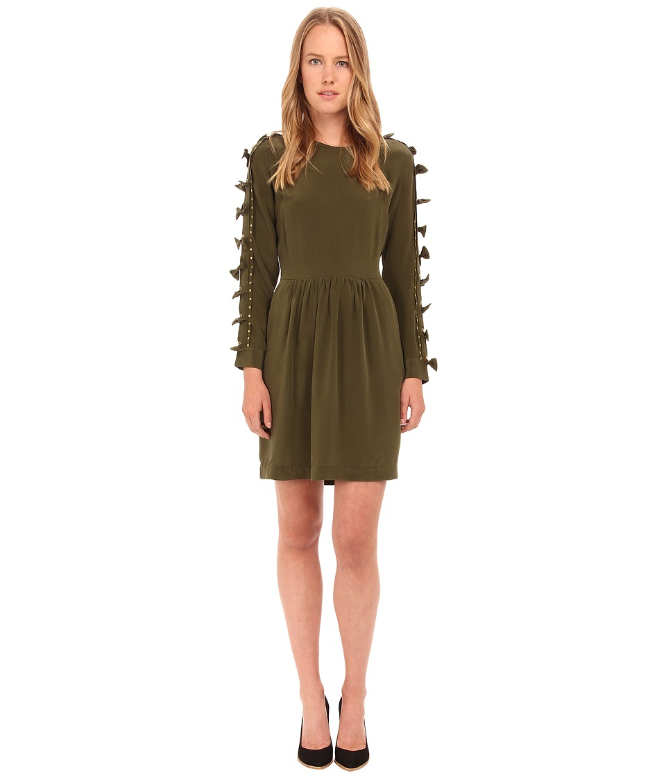 EMMA COOK - Silk Bow Dress (Olive) Women's Dress