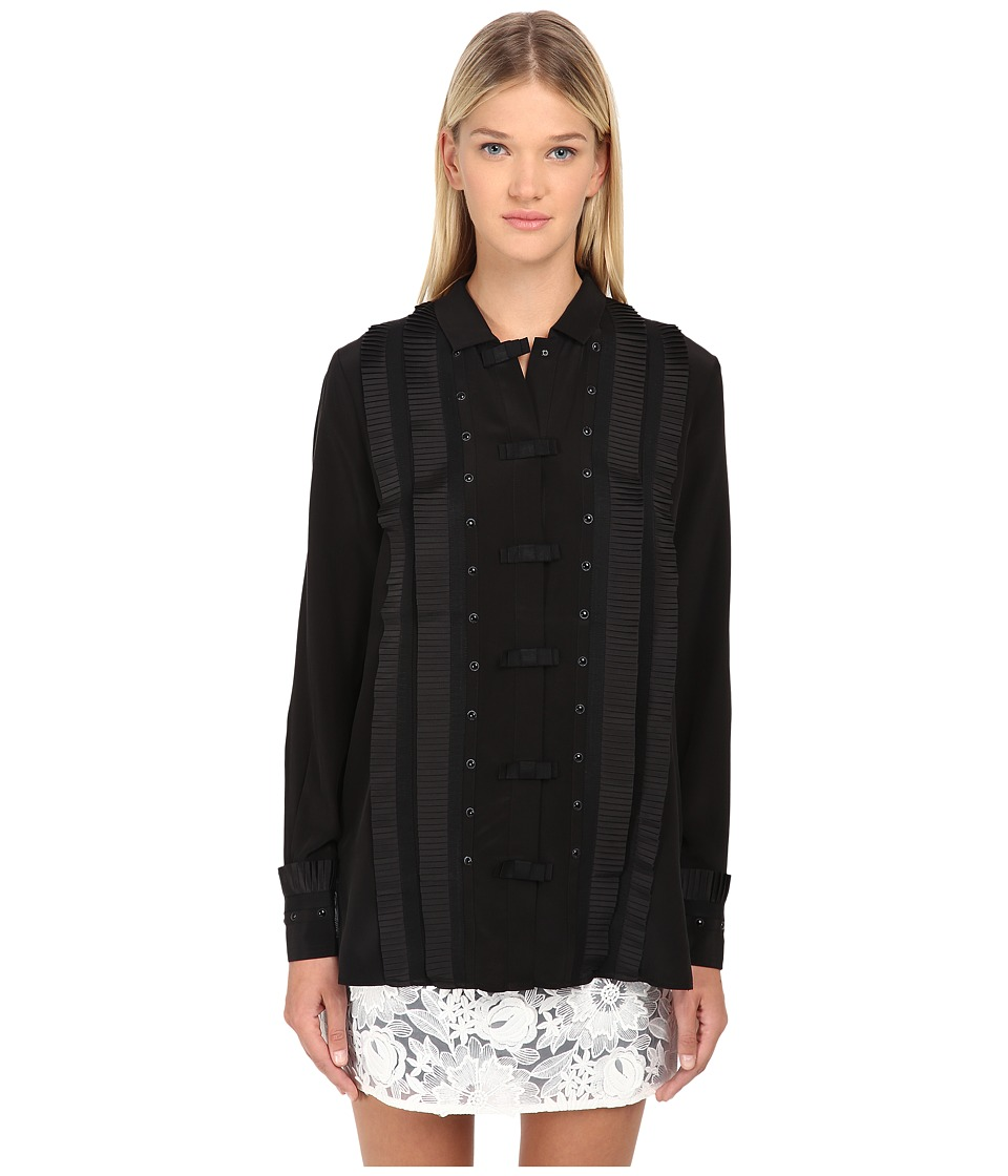 EMMA COOK - Silk Tuxedo Shirt (Black) Women's Blouse