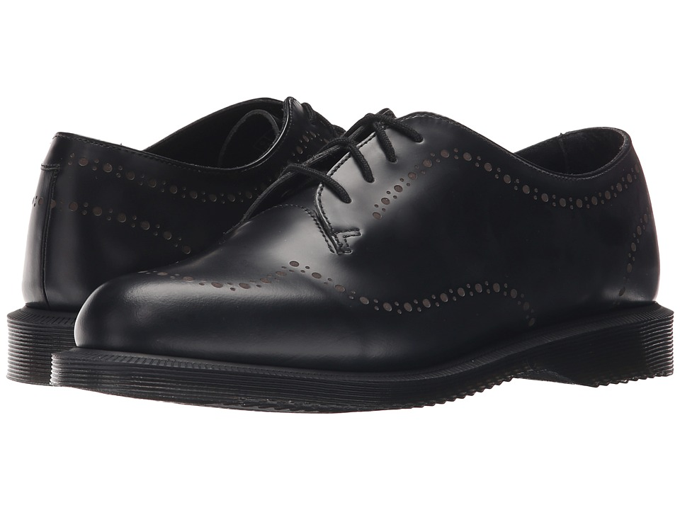 Dr. Martens - Charlotte Etched Brogue Shoe (Black Polished Smooth) Women's Lace up casual Shoes