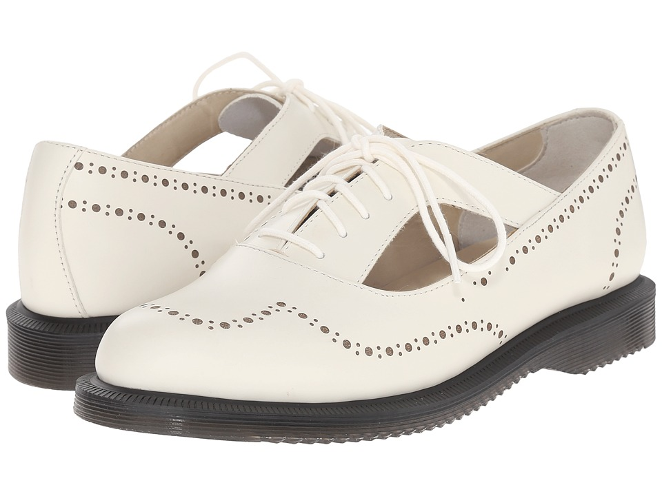 Dr. Martens - Ruby Open Etched Brogue Shoe (Off-White Polished Smooth) Women's Maryjane Shoes